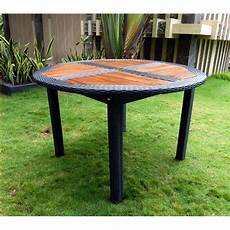table ronde jardin 10340 table de jardin en teck en r 233 sine tress 233 e ronde pliante