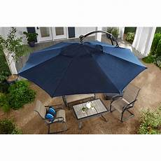 hton bay 11 ft aluminum cantilever solar led offset patio umbrella in midnight yjaf052 mi