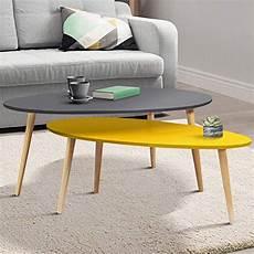 table basse scandinave jaune idmarket lot de 2 tables basses gigognes laqu 233 es gris