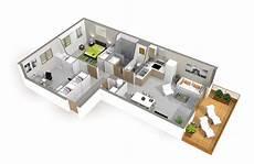 plan d intérieur de maison maison plain pied 4 chambres 3d