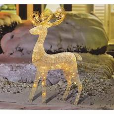 Outdoor Lighted Reindeer Decorations by 48 Quot Glittered White Reindeer Lighted