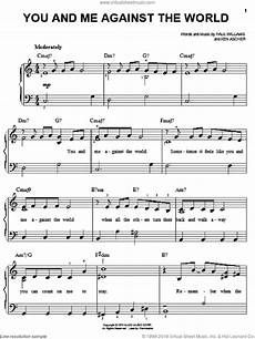 reddy you and me against the world sheet music for piano solo