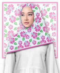 Jilbab Segi Empat Motif Flower Pattern Printout Shop