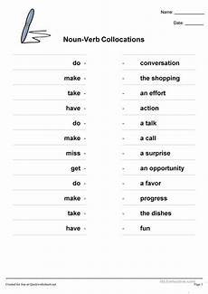 noun verb collocations english esl worksheets for distance learning and physical classrooms