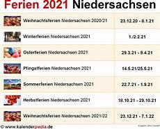 Ferien Niedersachsen 2021 220 Bersicht Der Ferientermine