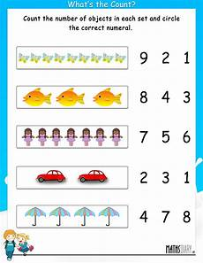 count the objects and circle the correct numeral math worksheets mathsdiary com