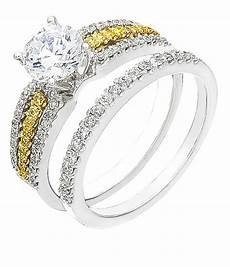white yellow diamonds two tone gold ring band