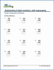 grade 4 math worksheets subtraction of 3 digit numbers k5 learning