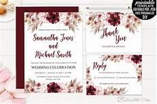 wedding invitation template marsala wedding invitation template wedding templates