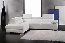 canap 233 d angle en cuir italien 5 places helios blanc