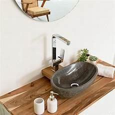 Gäste Wc Aufsatzwaschbecken - wohnfreuden naturstein waschbecken rund oval 40 cm poliert