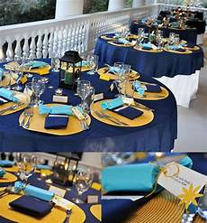 blue and yellow wedding delicious wedding catering at a