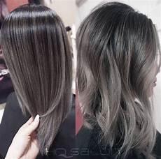 couleur cheveux gris argenté balayage gris sur cheveux noir
