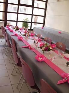 Decoration Table Mariage Gris Fushia