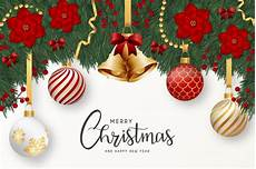 modern merry christmas and happy new year greeting card with realistic decoration vector free