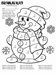 addition colouring worksheets year 1 9863 winter math facts color sheet 2 digit addition with regrouping tpt