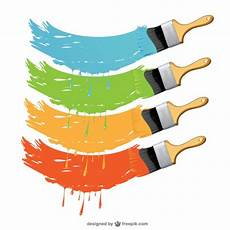 paint brushes in different colors vector free download