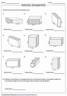 prism surface area worksheet surface area worksheets