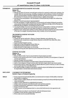 resume format of logistics manager logistic manager resume sles velvet