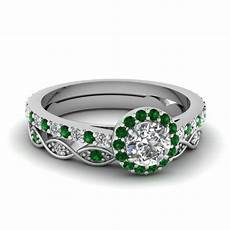 cut diamond wedding ring sets with green emerald in 14k white gold fascinating diamonds