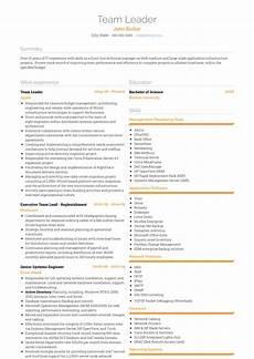 team leader resume sles and templates visualcv