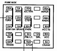 fuse box diagram 96 gmc i a 97 5 7 350 and getting no signal to the injectors what could be the issue