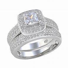 newshe 2 26 ct princess cut aaa cz 925 sterling silver halo wedding ring set engagement band