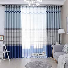 vorhang blau nordischer vorhang blau streifen aus polyester mittelmeer stil