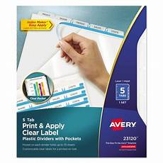 avery maker print apply clear label plastic dividers 5 tab letter ave23120 walmart com