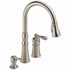 kitchen faucets peerless decatur stainless 1 handle deck mount pull kitchen faucet at lowes