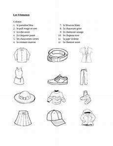 worksheets les vetements 18940 v 234 tements clothing in colorie worksheet 1 teaching resources