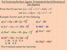 factoring perfect square trinomials and the difference of
