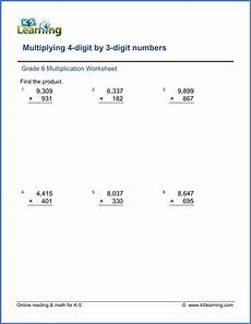 math worksheets grade 5 multiplication and division 6611 grade 6 math worksheet multiplication division multiplying 4 digit by 3 digit numbers k5