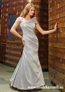 Schulterfreies Abendkleid Lang Silber Grau Schulterfreies