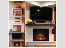 Electric Fireplace Shiplap, white shiplap, dark mantel