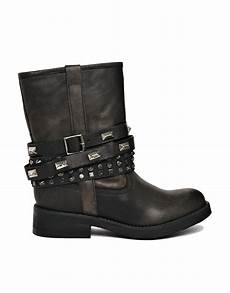 steve madden mightee studded black biker boots in black lyst