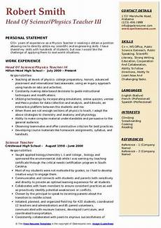 physics teacher resume sles qwikresume