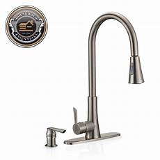 kitchen faucet sprayers 19 quot brushed nickel pull kitchen faucet with sprayer and soap dispenser ebay