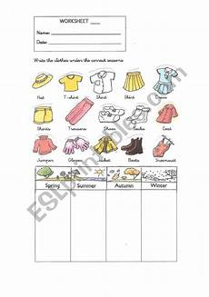 worksheets seasons and clothes 14754 the seasons and clothes esl worksheet by nuriad88
