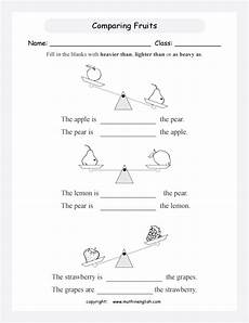 mass measurement worksheets grade 1 1750 which fruit is heavier use the balances to compare the mass of fruits introduction to mass and