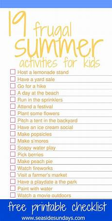 activity list the best summer activities for kids with free printable