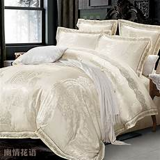aliexpress com buy beige jacquard satin silk bedding king queen size 4pcs luxury lace