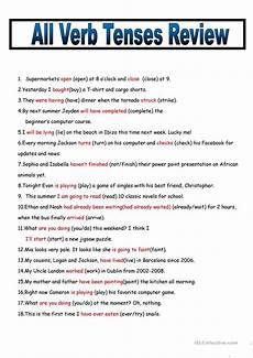 all verb tenses review with key worksheet free esl