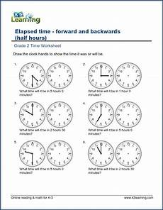 grade 2 time worksheets changes in time hours and half hours k5 learning