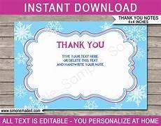 thank you card editable template printable frozen thank you cards frozen birthday