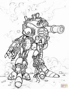 steunk robot with a big cannon coloring page