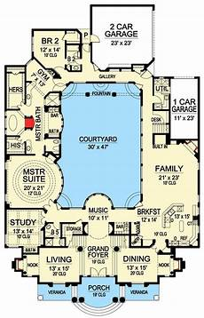 single level house plans with courtyard plan 36186tx luxury with central courtyard in 2019