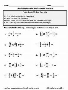 order of operations with fractions differentiated worksheets tpt