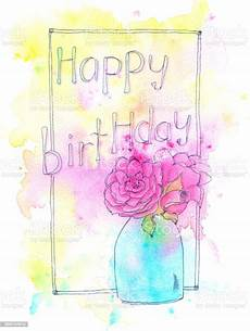 happy birthday watercolor painting with roses and