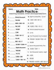 reading and writing numbers in expanded form standard form and written form freebie math